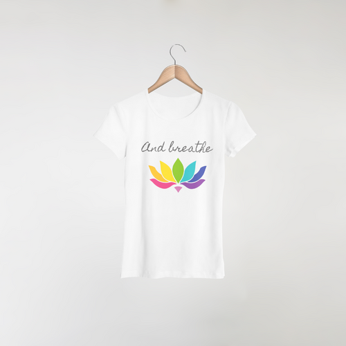 And breathe design on white women's t-shirt