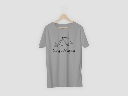 Grey T-shirt with Wild Camping Design
