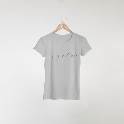 mountain heartbeat design on a women's grey t-shirt
