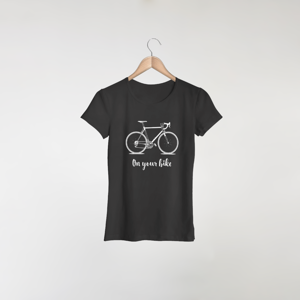Bike design on women's black t-shirt