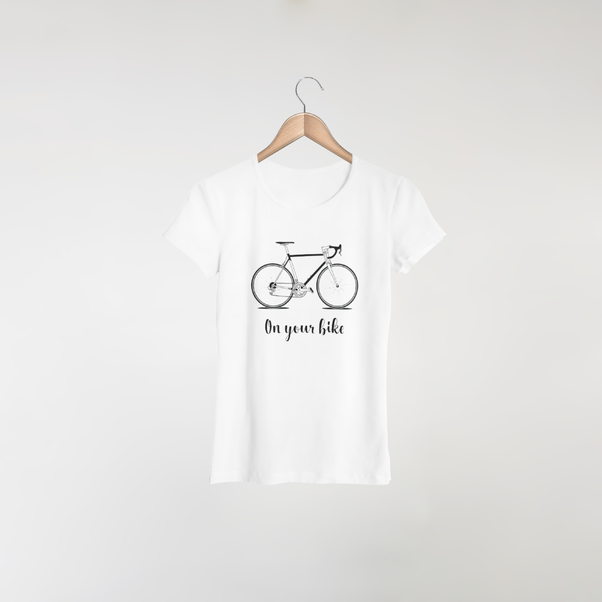 bike design on women's white t-shirt