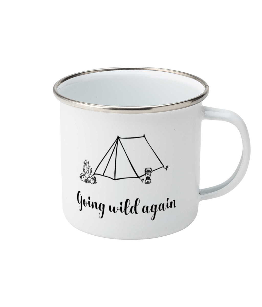 black and white camping design on a white enamel mug