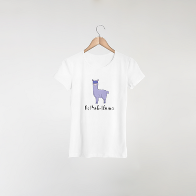 purple llama design on a women's white t-shirt