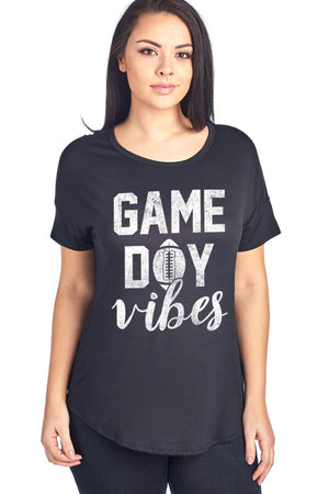 GAME DAY VIBES W/ FOOTBALL DESIGN SHORT SLEEVE TOP