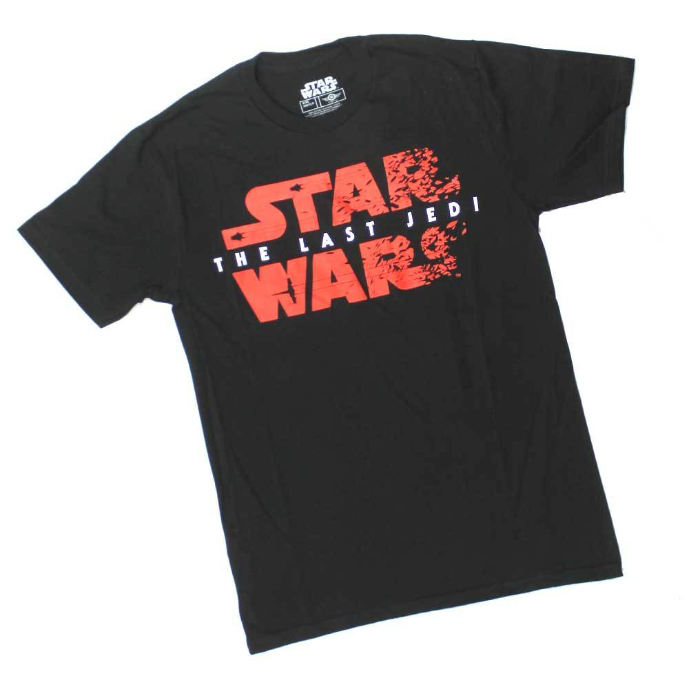 MENS STAR WARS LAST JEDI BURST LOGO BLACK RED TEE T SHIRT