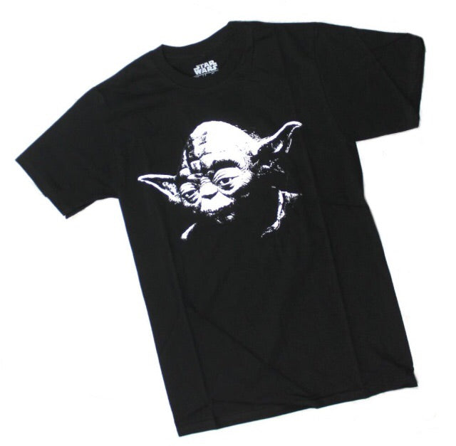 MENS STAR WARS YODA HEAD PHOTO SKETCH RETRO BLACK TEE T SHIRT