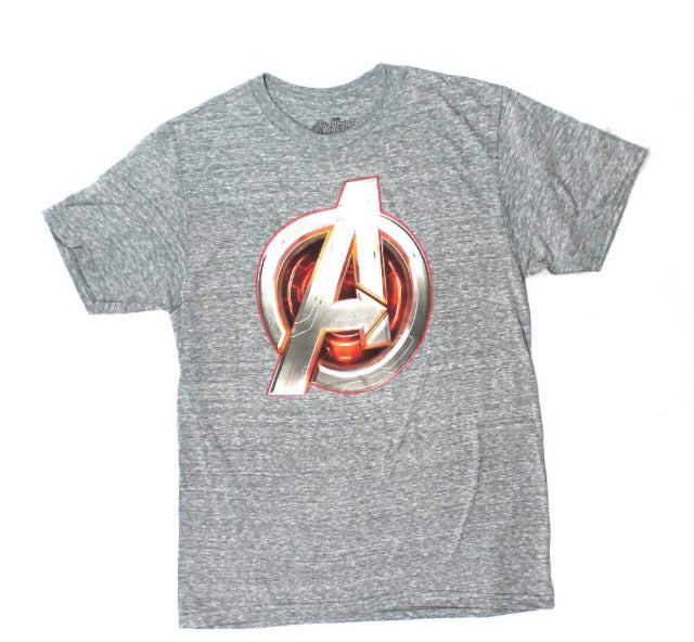 MARVEL COMICS AVENGERS CORE ICON CHARCOAL A LOGO MOVIE MENS TEE T SHIRT