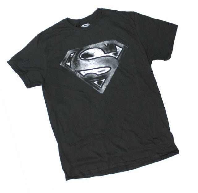 MENS SUPERMAN LOGO BLACK & WHITE DISTRESS DC COMICS TEE T SHIRT