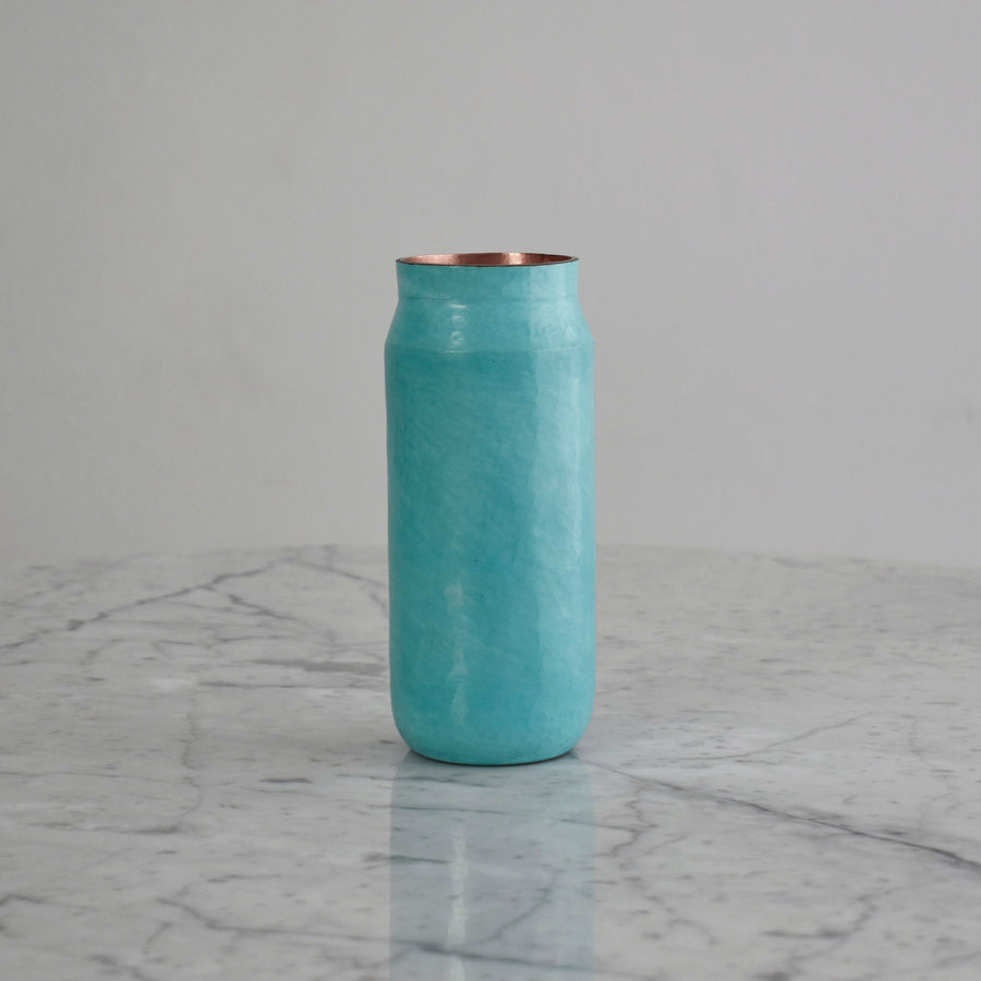 Small Hammered Copper Vase in Natural Finish. Estudio Pomelo. Made in Mexico