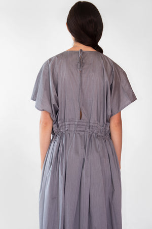 Cobalt Oversized Cotton Drawstring Waist Dress