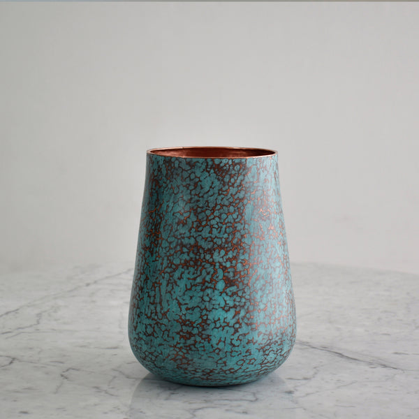 Medium Hammered Copper Vase in Scraped Oxide Finish. Estudio Pomelo. Made in Mexico