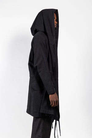 Alonso Water-Resistant Linen-Blend Hooded Coat