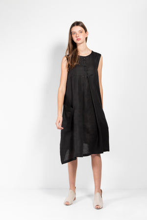 Atenea Sleeveless Linen-Silk Wrap Dress