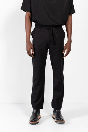 Baltazar Linen-Blend Slide Buckle Belt Pants