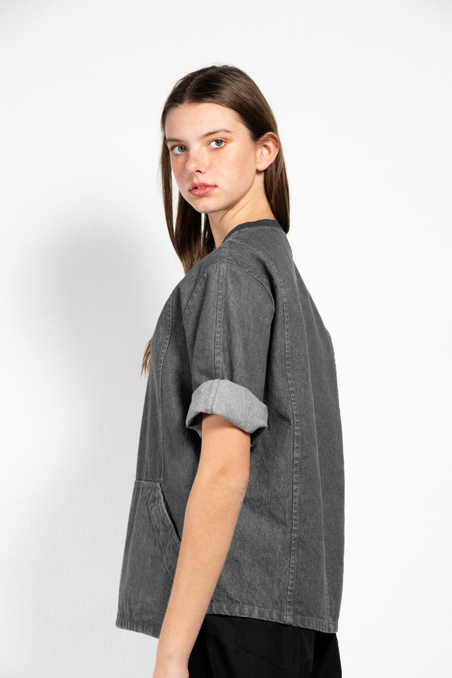 Blackburn Short Sleeved Washed Denim Sweatshirt