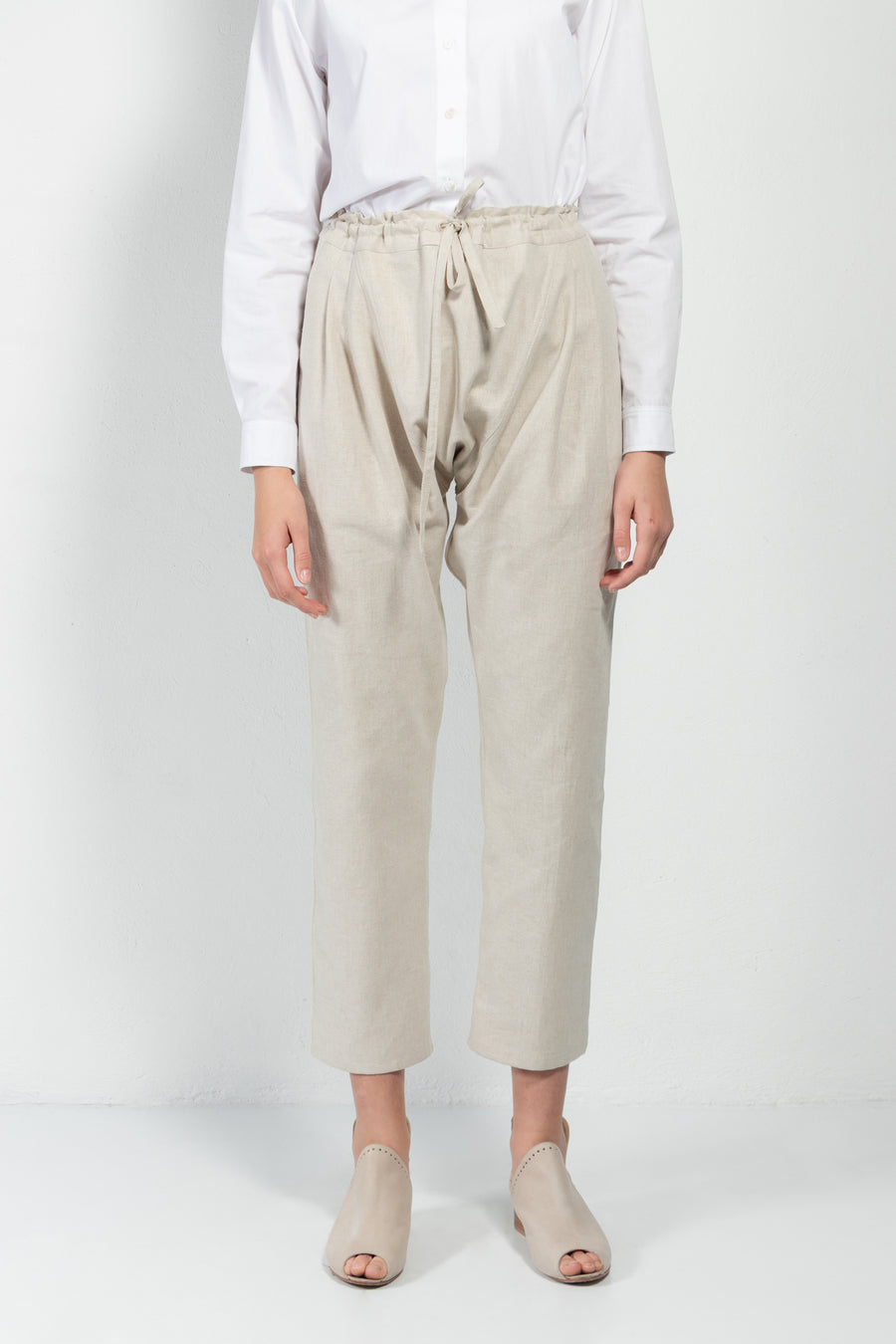 Jorge Linen Drop-Crotch Drawstring Pants