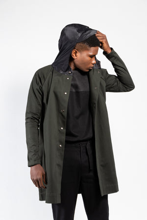 Luna Twill Snap Button Coat with Water-Proof Hood
