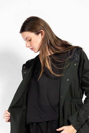 Luna Twill Gathered Waisted Snap Button Coat with Water-Proof Hood