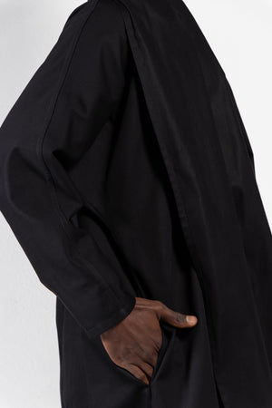 Maauad Cotton Twill Draped Collar Coat
