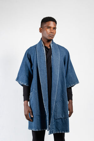 Men's distressed denim kimono in a dark wash
