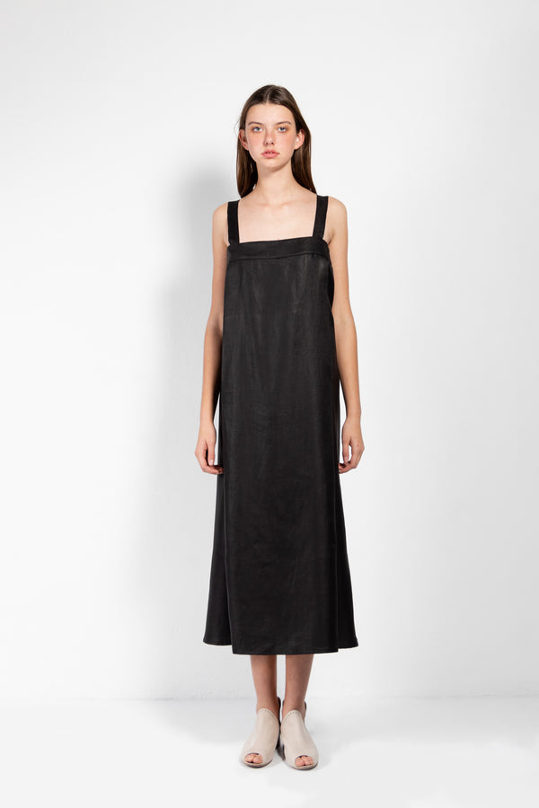 Persephone Long Linen Twill dress with Button Down Back