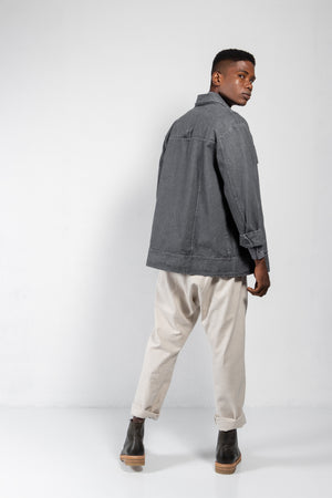 Plúmula Pleated Front Washed Denim Jacket