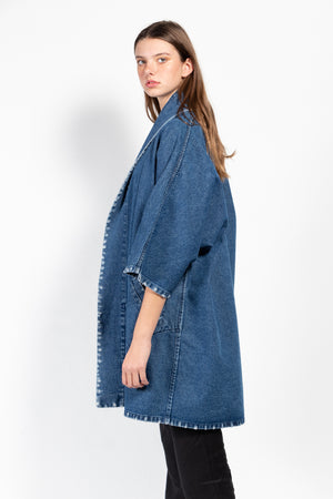 Women's distressed denim kimono in a dark wash