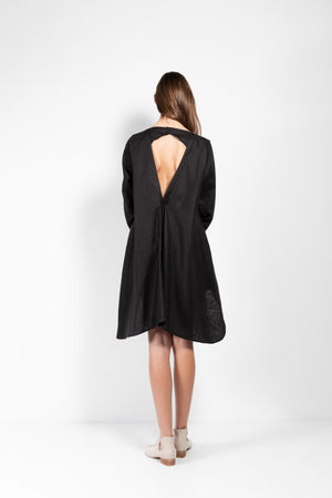 Savannah Linen-Silk Open Back Shirt Dress