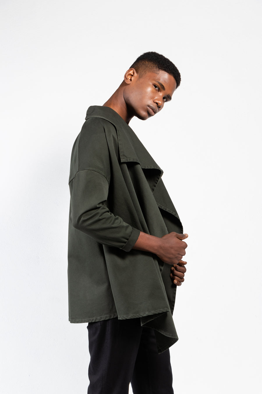 Spike Twill Draped Front Jacket