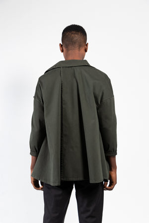 Spike Washed Twill Draped Front Jacket