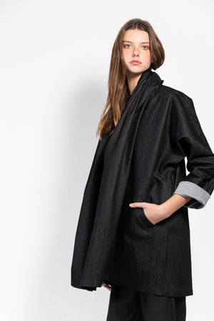 Versus Raw Denim Open Coat