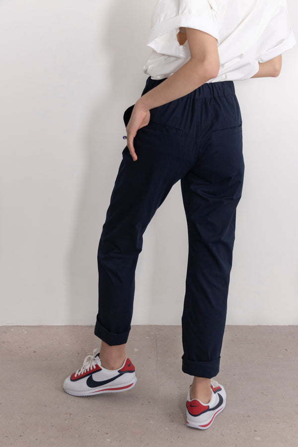 Simple by Trista Slim-Fit Cotton Twill Drawstring Pants in Navy Blue