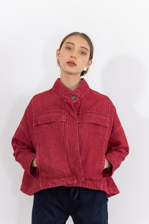 Lianne Washed Denim Multi Pocket Cropped Jacket