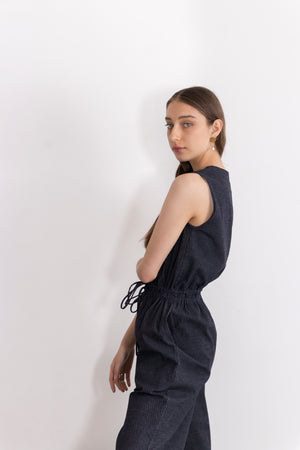 Titanium Stretch Denim V-Neck Drawstring Waist Jumpsuit