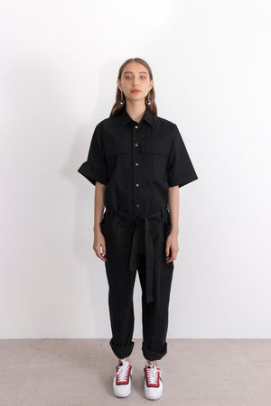 Tungsten Cotton Twill Snap Button Jumpsuit