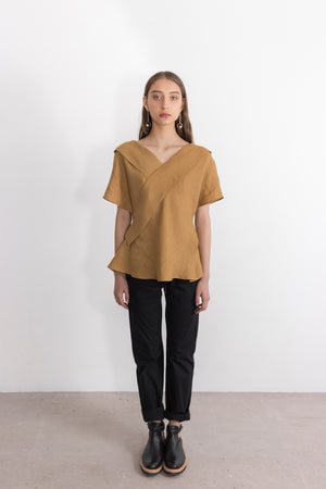 Copper Linen Asymmetrical V-Neck Blouse