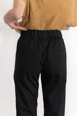 Detail of Simple by Trista Slim-Fit Cotton Twill Drawstring Pants in Black