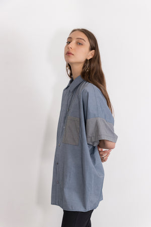 Tin Short Sleeved Piece-Dyed Shirt