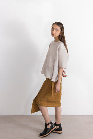 Argon Linen Organza Open Back Blouse
