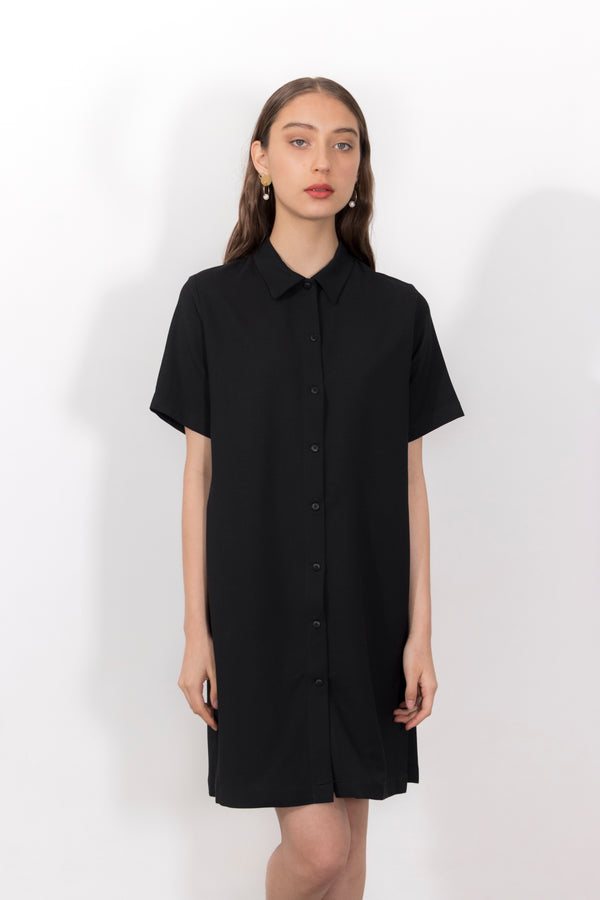 Rhodium Lightweight Wool Piqué Button Down Polo Dress