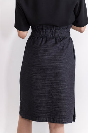 Carbon Stretch Denim Drawstring Waist Skirt