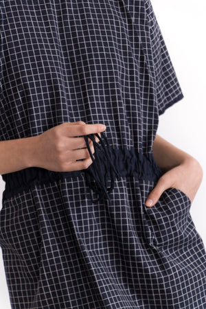 Thallium Checked Drawstring Waist Dress