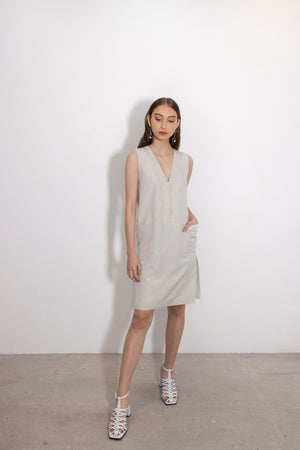 Lithium Silk Blend V-Neck Front Pocket Shift Dress