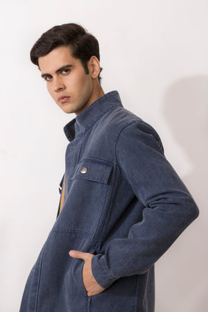 Osmium Washed Denim Zipper Front Jacket