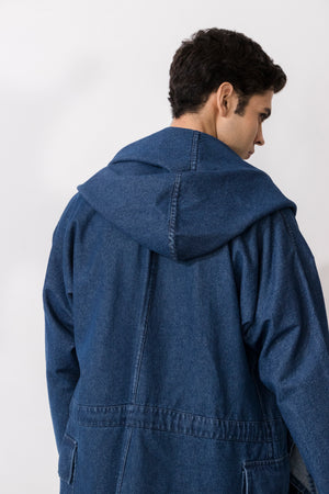 Alonso Washed Denim Hooded Coat
