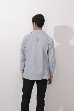 Back of Simple by Trista menswear coated denim jacket