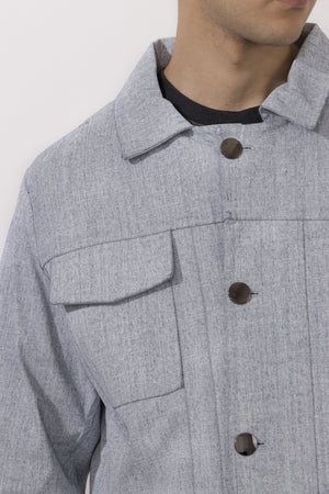Detail of Simple by Trista menswear coated denim jacket
