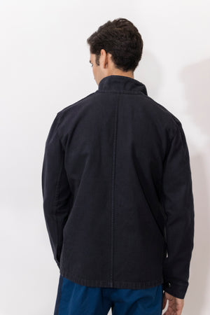 Osmium Dyed Denim Zipper Front Jacket