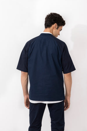 Mendelevium Cotton Twill Short Sleeved Snap Button Jacket
