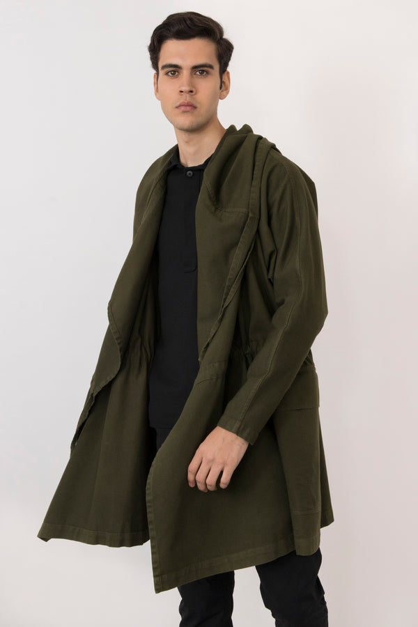 Alonso Washed Cotton Twill Hooded Coat